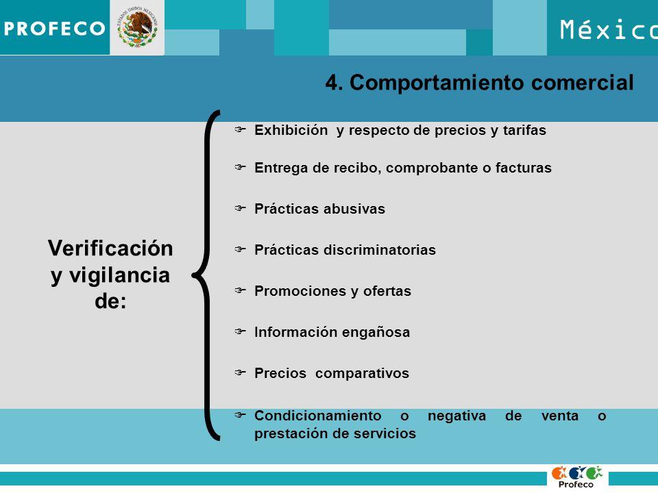 México 4. Comportamiento comercial Verificación y vigilancia de: Exhibición y respecto de precios y tarifas Entrega de recibo, comprobante o facturas