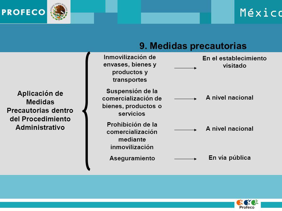 México 9. Medidas precautorias Aplicación de Medidas Precautorias dentro del Procedimiento Administrativo Inmovilización de envases, bienes y producto