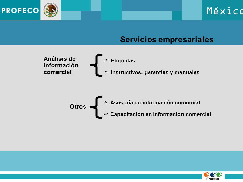 México Servicios empresariales Análisis de información comercial Etiquetas Instructivos, garantías y manuales Otros Asesoría en información comercial