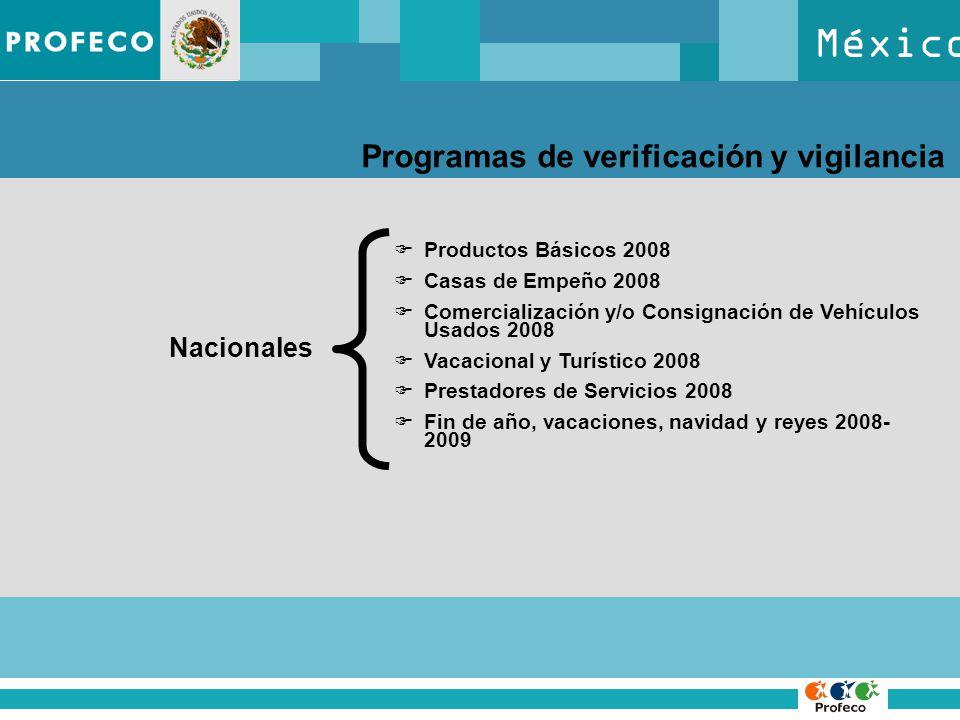 México Programas de verificación y vigilancia Nacionales Productos Básicos 2008 Casas de Empeño 2008 Comercialización y/o Consignación de Vehículos Usados 2008 Vacacional y Turístico 2008 Prestadores de Servicios 2008 Fin de año, vacaciones, navidad y reyes 2008- 2009