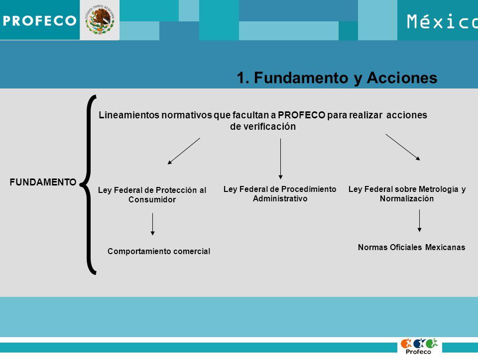 México 1. Fundamento y Acciones FUNDAMENTO Lineamientos normativos que facultan a PROFECO para realizar acciones de verificación Ley Federal de Protec