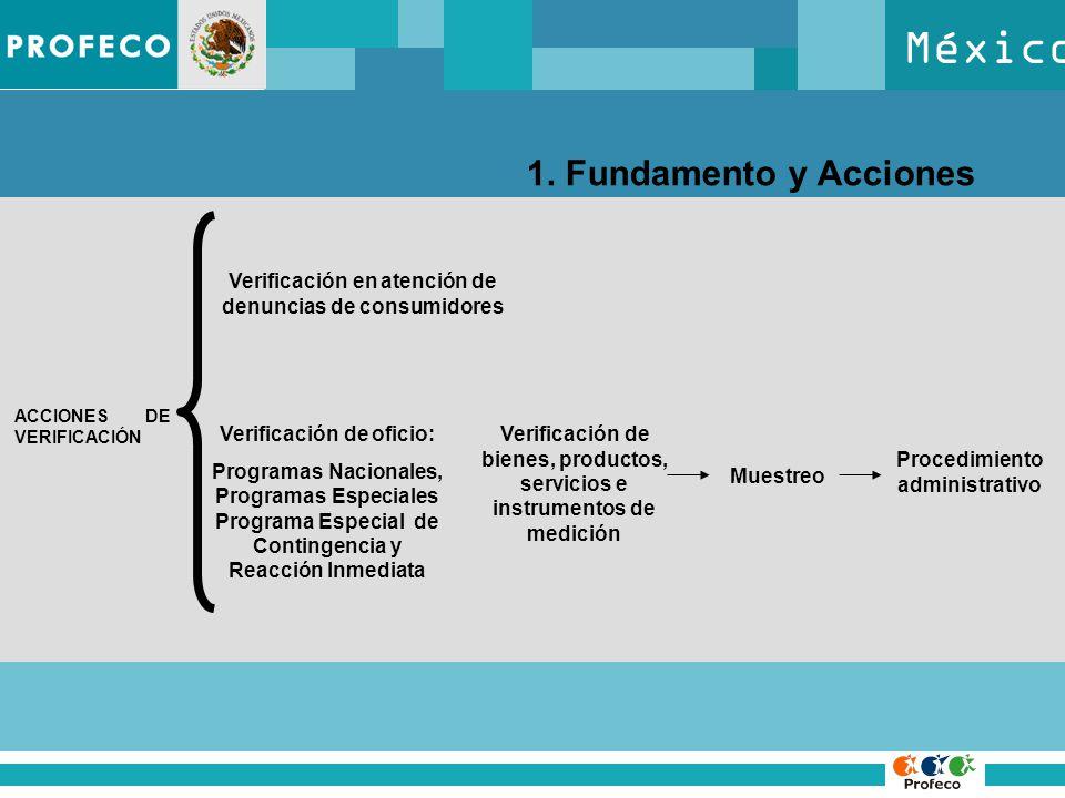 México 1. Fundamento y Acciones ACCIONES DE VERIFICACIÓN Verificación en atención de denuncias de consumidores Verificación de oficio: Programas Nacio