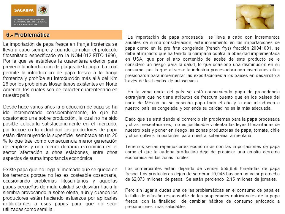 7.- Logros e Impactos Se realizaron las acciones y negociaciones necesarias para declarar como zona bajo protección para producir semilla tubérculo a los Municipios de Caborca, Pitiquito y Altar del Estado de Sonora.