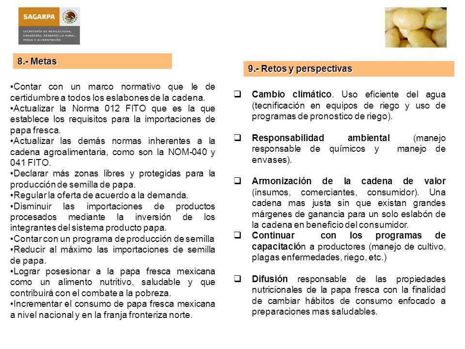 8.- Metas Contar con un marco normativo que le de certidumbre a todos los eslabones de la cadena. Actualizar la Norma 012 FITO que es la que establece