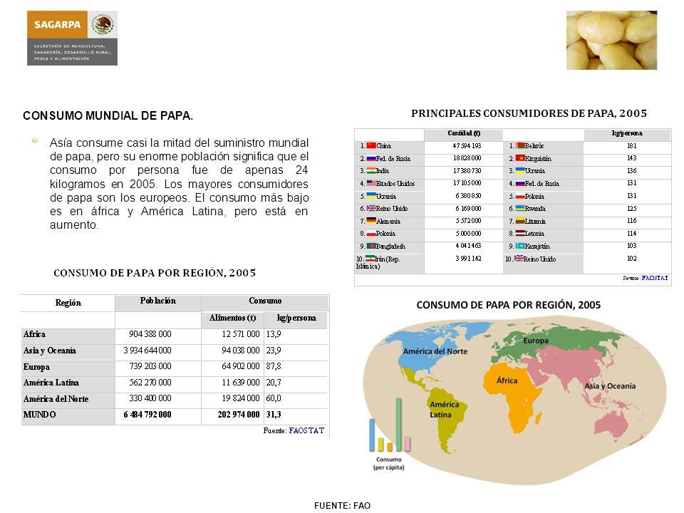 Exportaciones Internacionales de Papa Fresca: Las exportaciones de papa se clasifican básicamente en dos presentaciones, como papa fresca y como papa procesada (congelada), la de mayor interés es la papa fresca.