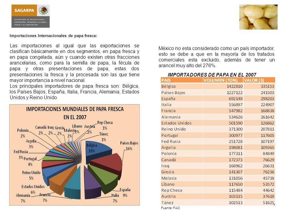 Importaciones Internacionales de papa congelada: Las importaciones de papa congelada han crecido notablemente, esto debido al cambio en los hábitos de consumo, los cuales se inclinan hacia el consumo de comida rápida.