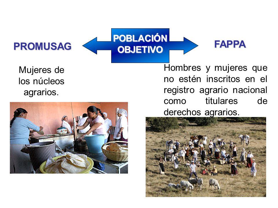 Mujeres de los núcleos agrarios. Hombres y mujeres que no estén inscritos en el registro agrario nacional como titulares de derechos agrarios. FAPPA P
