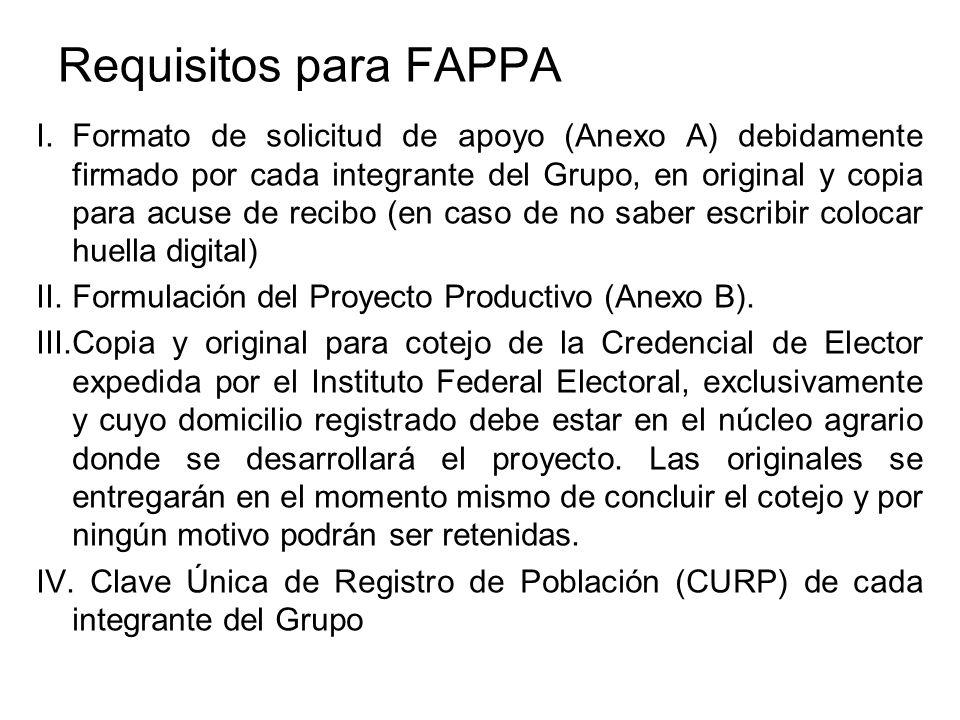 Requisitos para FAPPA I.Formato de solicitud de apoyo (Anexo A) debidamente firmado por cada integrante del Grupo, en original y copia para acuse de r
