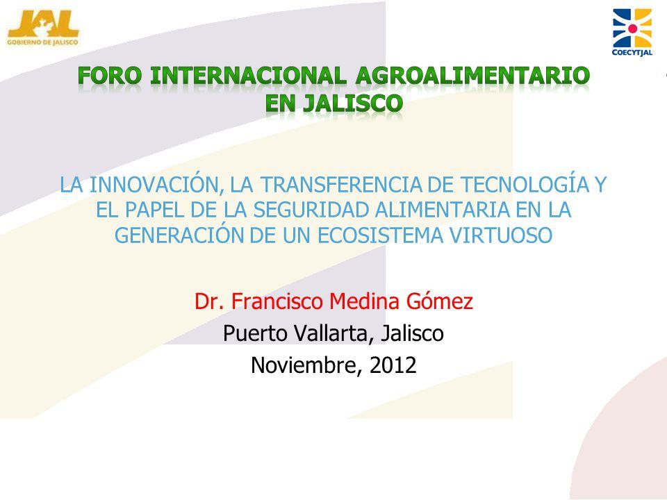 LA INNOVACIÓN, LA TRANSFERENCIA DE TECNOLOGÍA Y EL PAPEL DE LA SEGURIDAD ALIMENTARIA EN LA GENERACIÓN DE UN ECOSISTEMA VIRTUOSO Dr. Francisco Medina G