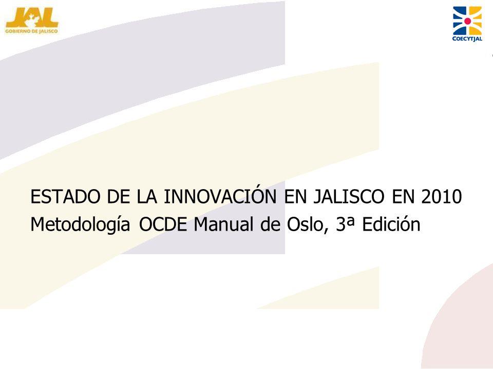 ESTADO DE LA INNOVACIÓN EN JALISCO EN 2010 Metodología OCDE Manual de Oslo, 3ª Edición