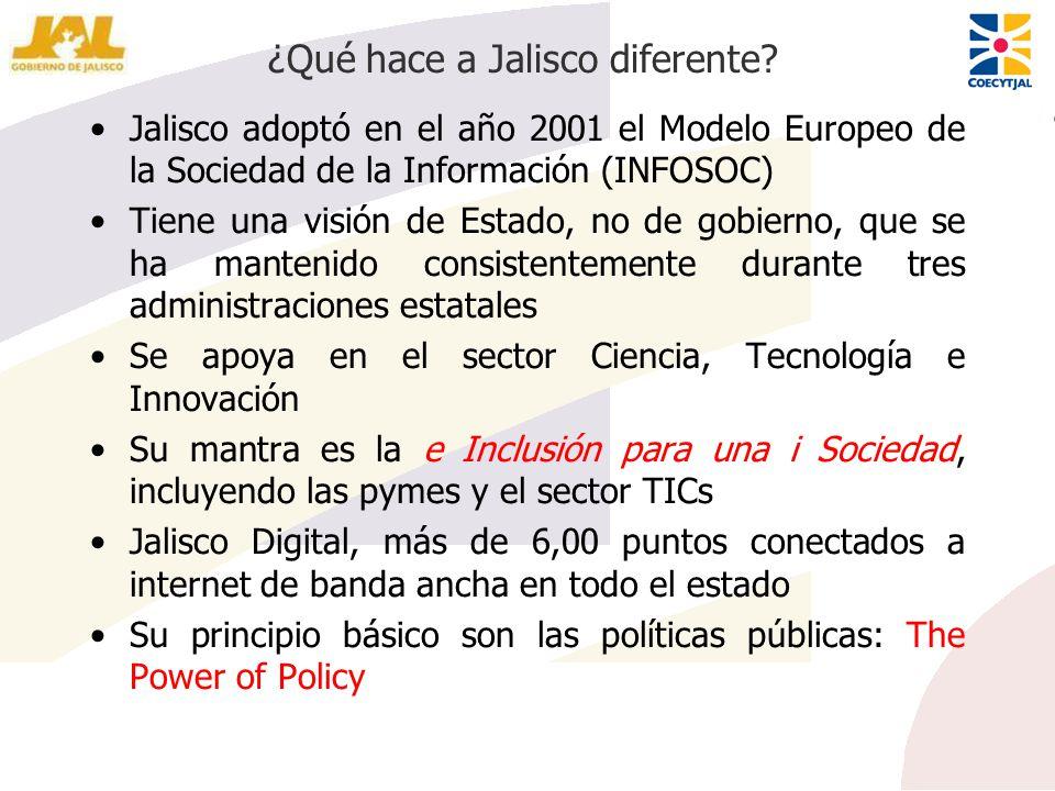 ¿Qué hace a Jalisco diferente? Jalisco adoptó en el año 2001 el Modelo Europeo de la Sociedad de la Información (INFOSOC) Tiene una visión de Estado,