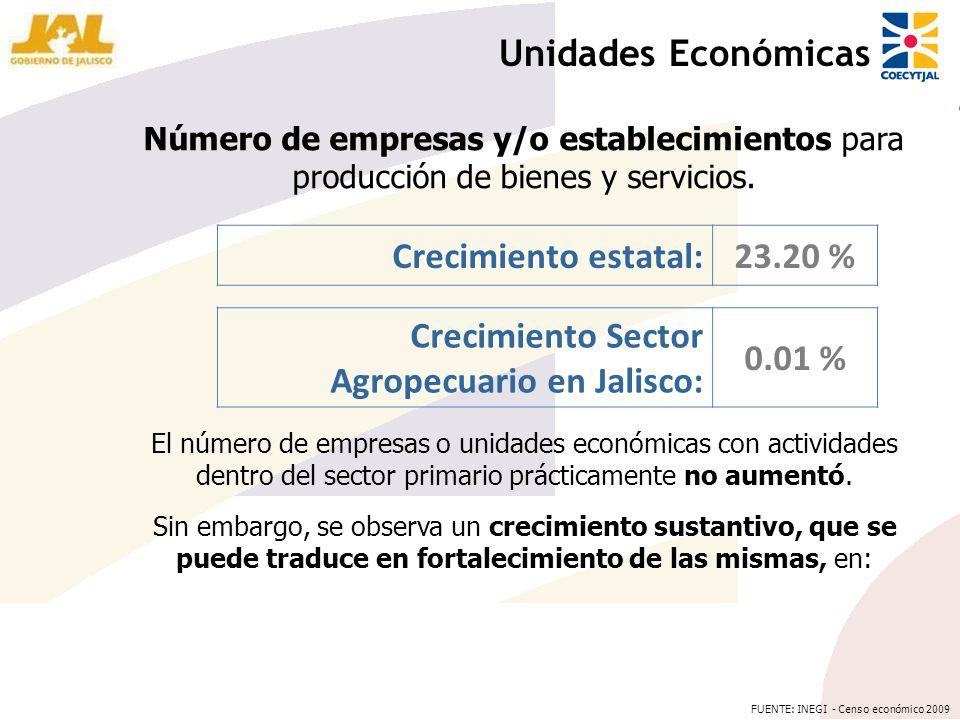Número de empresas y/o establecimientos para producción de bienes y servicios. Unidades Económicas Crecimiento estatal:23.20 % Crecimiento Sector Agro