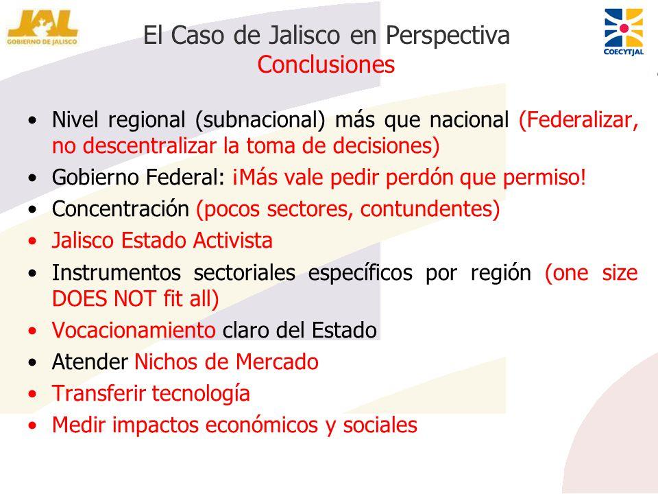 El Caso de Jalisco en Perspectiva Conclusiones Nivel regional (subnacional) más que nacional (Federalizar, no descentralizar la toma de decisiones) Go