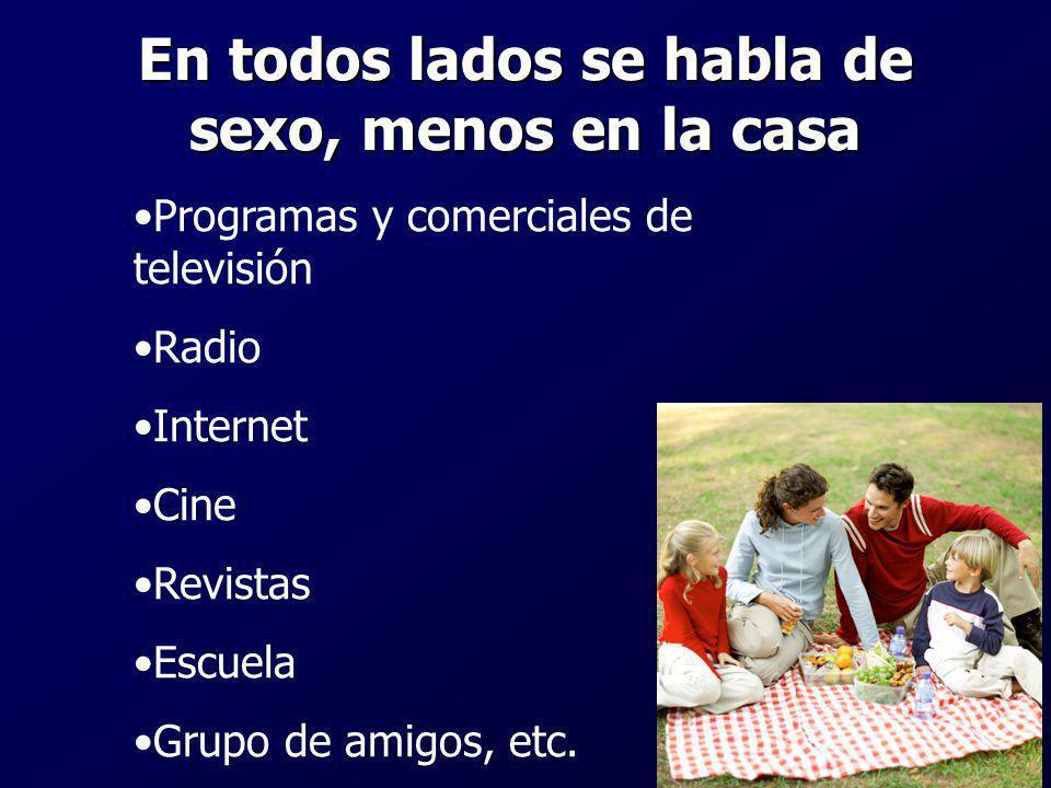 En todos lados se habla de sexo, menos en la casa Programas y comerciales de televisión Radio Internet Cine Revistas Escuela Grupo de amigos, etc.