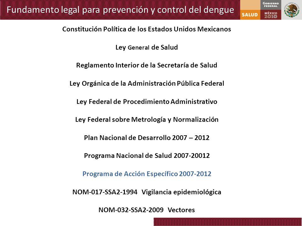 Fundamento legal para prevención y control del dengue Constitución Política de los Estados Unidos Mexicanos Ley General de Salud Reglamento Interior d