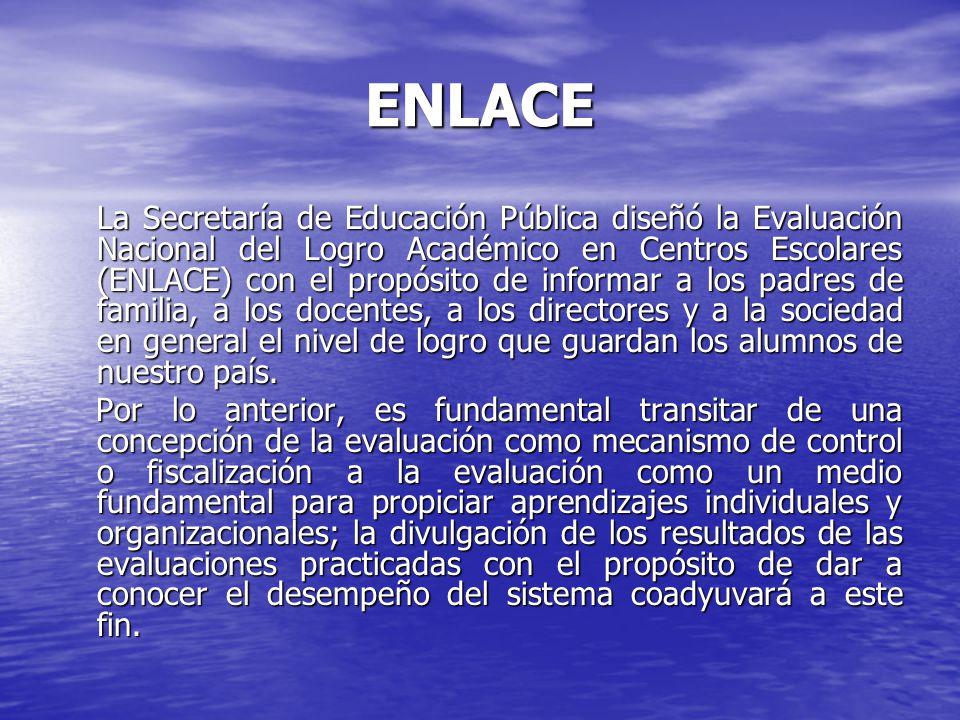 Escuelas primarias con resultados ENLACE más altos a nivel nacional por modalidad CONAFEGENERALINDÍGENAPARTICULAR Chiapas (La Concordia) Guanajuato (Jerécuaro) Chiapas (Motozintla) Sonora (Hermosillo) Chiapas (Berriozabal) Distrito Federal (Gustavo A.