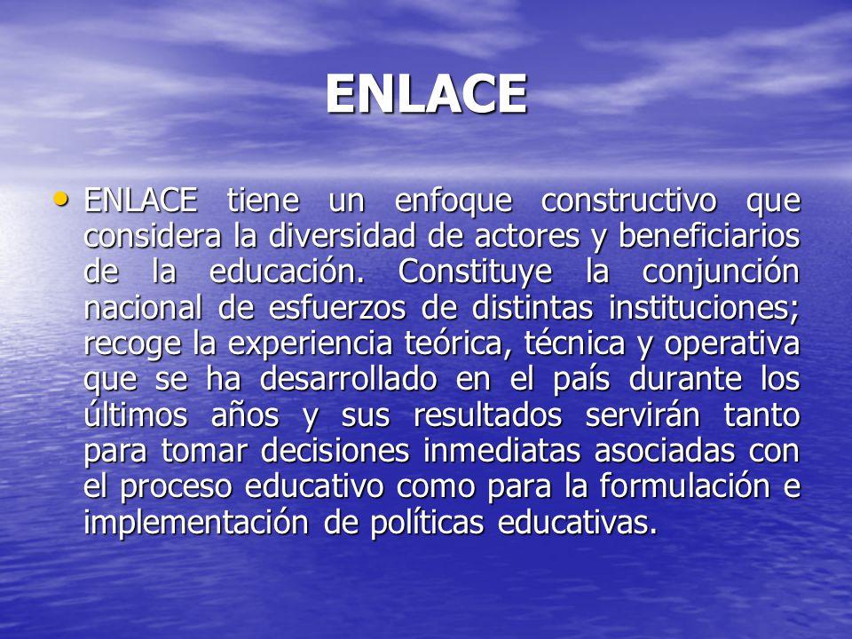 ENLACE ENLACE considera el diseño y la aplicación de instrumentos estandarizados para evaluar el logro académico de todos los alumnos de 3º a 6º grado de educación primaria y de los tres grados de educación secundaria, de conformidad con los planes y programas aprobados por la Secretaría de Educación Pública.