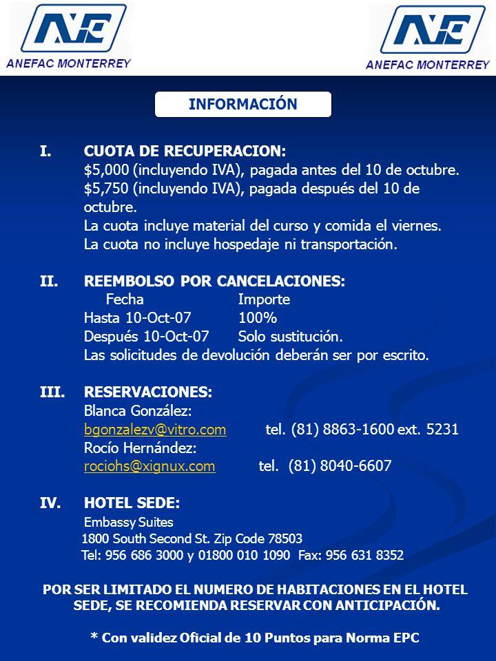 I.CUOTA DE RECUPERACION: $5,000 (incluyendo IVA), pagada antes del 10 de octubre.
