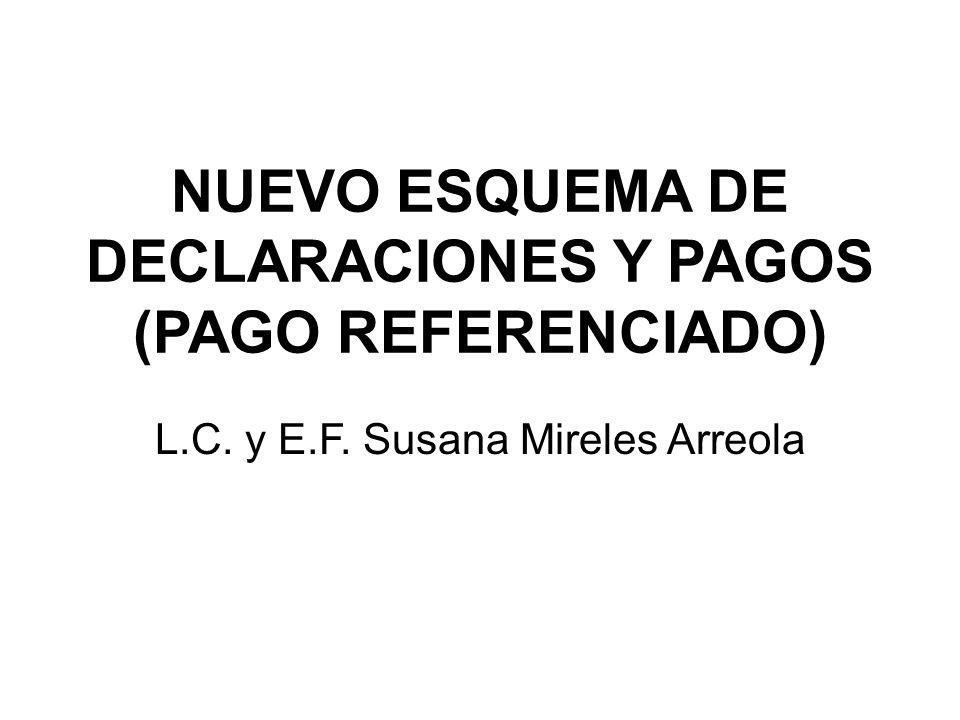 NUEVO ESQUEMA DE DECLARACIONES Y PAGOS (PAGO REFERENCIADO) L.C. y E.F. Susana Mireles Arreola