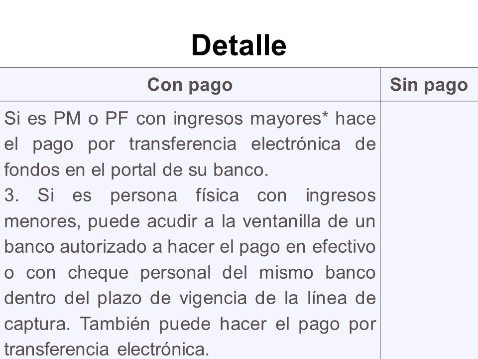 Detalle Con pagoSin pago Si es PM o PF con ingresos mayores* hace el pago por transferencia electrónica de fondos en el portal de su banco.