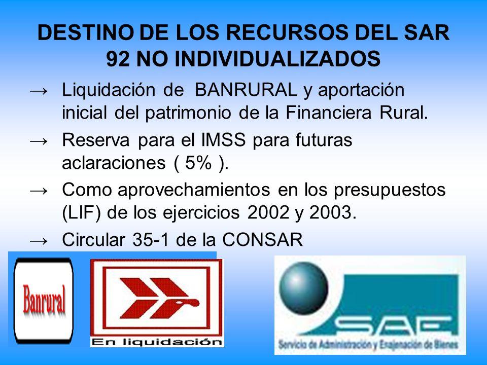 DESTINO DE LOS RECURSOS DEL SAR 92 NO INDIVIDUALIZADOS Liquidación de BANRURAL y aportación inicial del patrimonio de la Financiera Rural. Reserva par