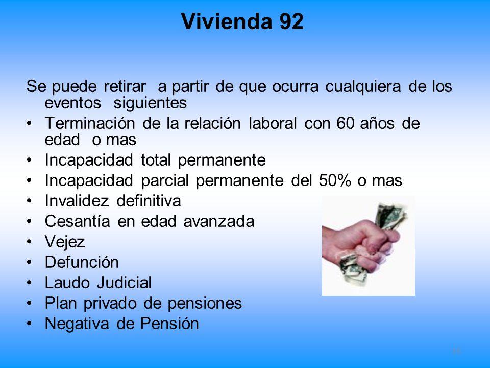 Vivienda 92 Se puede retirar a partir de que ocurra cualquiera de los eventos siguientes Terminación de la relación laboral con 60 años de edad o mas