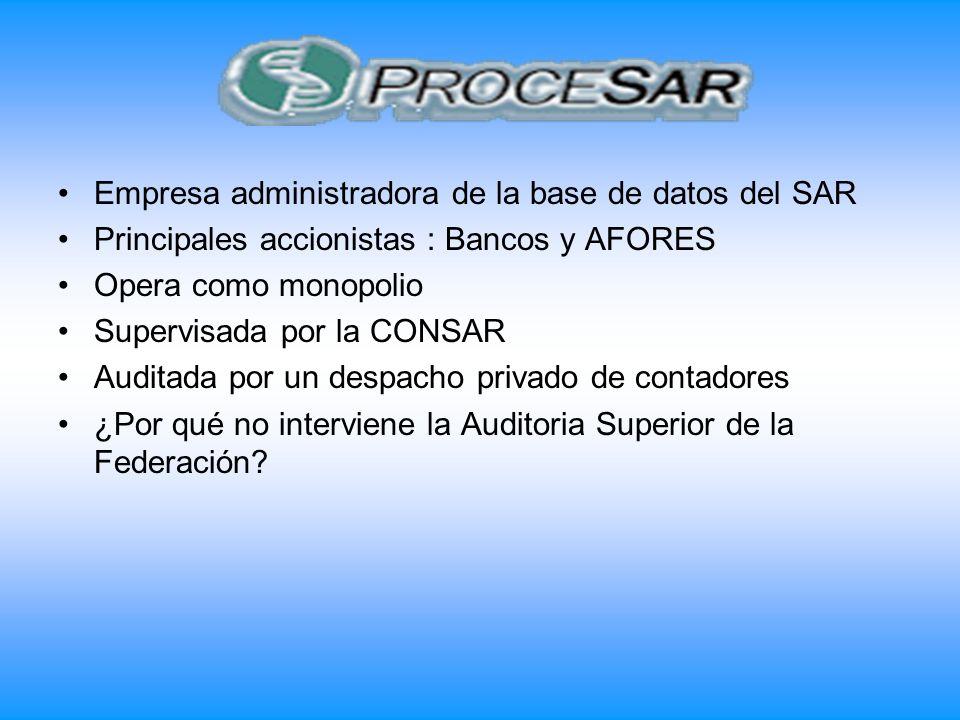 Empresa administradora de la base de datos del SAR Principales accionistas : Bancos y AFORES Opera como monopolio Supervisada por la CONSAR Auditada p