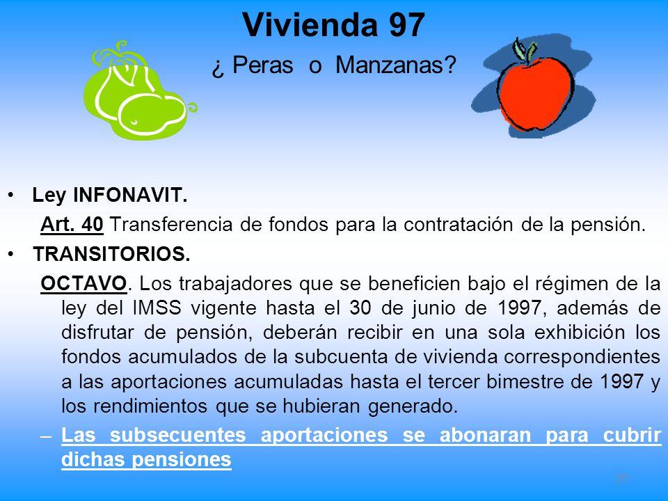 Vivienda 97 ¿ Peras o Manzanas? Ley INFONAVIT. Art. 40 Transferencia de fondos para la contratación de la pensión. TRANSITORIOS. OCTAVO. Los trabajado