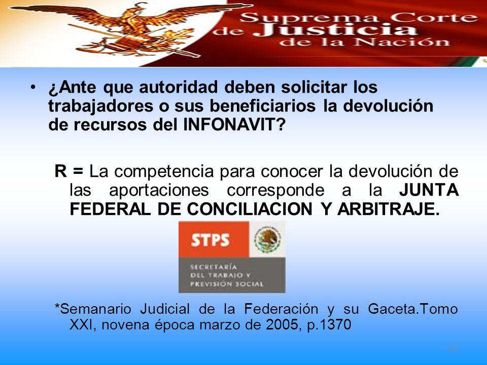 ¿Ante que autoridad deben solicitar los trabajadores o sus beneficiarios la devolución de recursos del INFONAVIT? R = La competencia para conocer la d