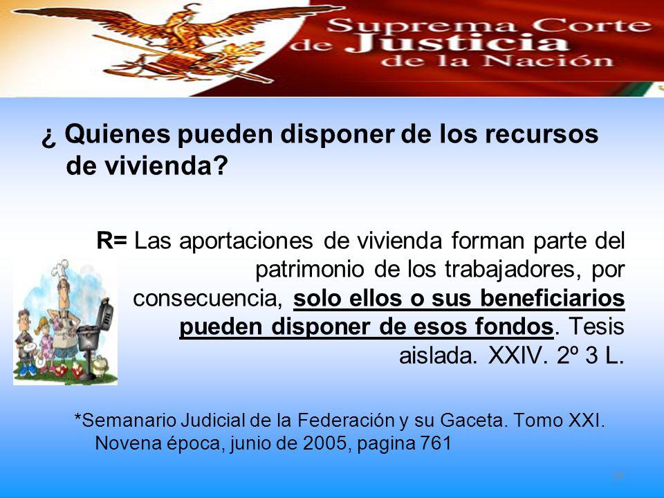 Resolución de los Tribunales ¿ Quienes pueden disponer de los recursos de vivienda? R= Las aportaciones de vivienda forman parte del patrimonio de los