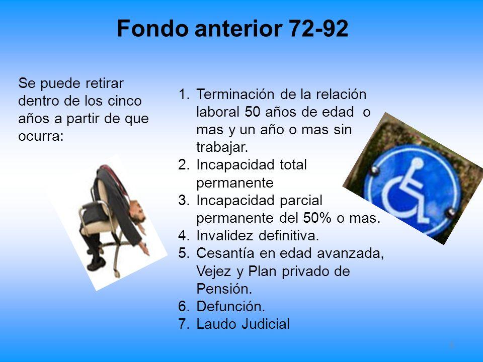 Fondo anterior 72-92 5 1.Terminación de la relación laboral 50 años de edad o mas y un año o mas sin trabajar. 2.Incapacidad total permanente 3.Incapa