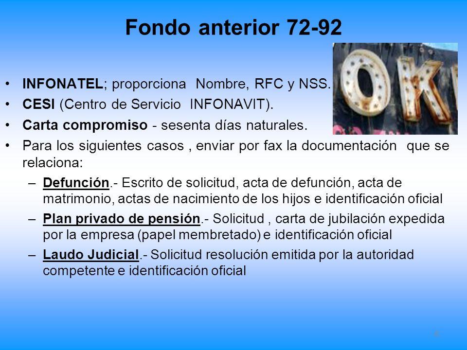 Fondo anterior 72-92 LFT Titulo cuarto Reglas para las aportaciones al Fondo Nacional de vivienda.