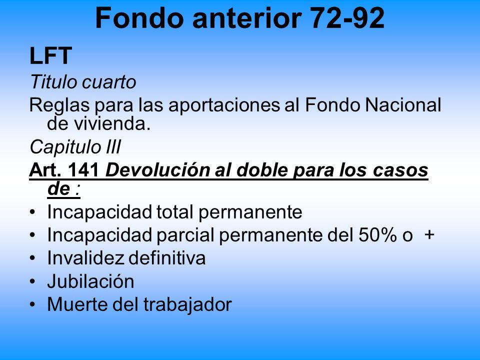 Fondo anterior 72-92 LFT Titulo cuarto Reglas para las aportaciones al Fondo Nacional de vivienda. Capitulo III Art. 141 Devolución al doble para los