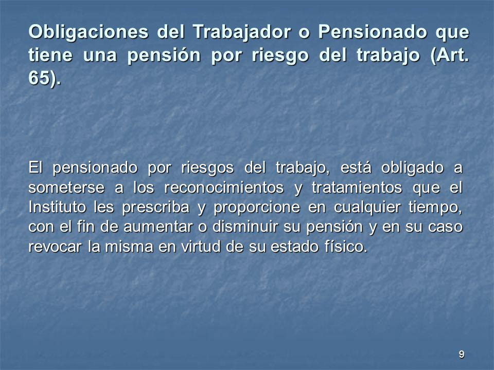 El pensionado por riesgos del trabajo, está obligado a someterse a los reconocimientos y tratamientos que el Instituto les prescriba y proporcione en