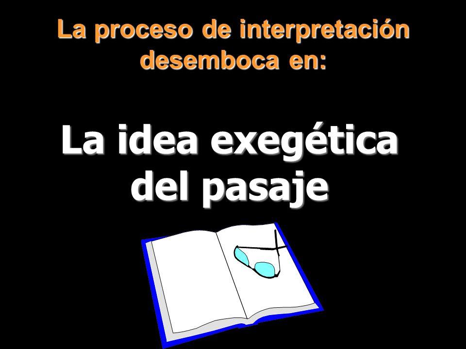 La proceso de interpretación desemboca en: La idea exegética del pasaje