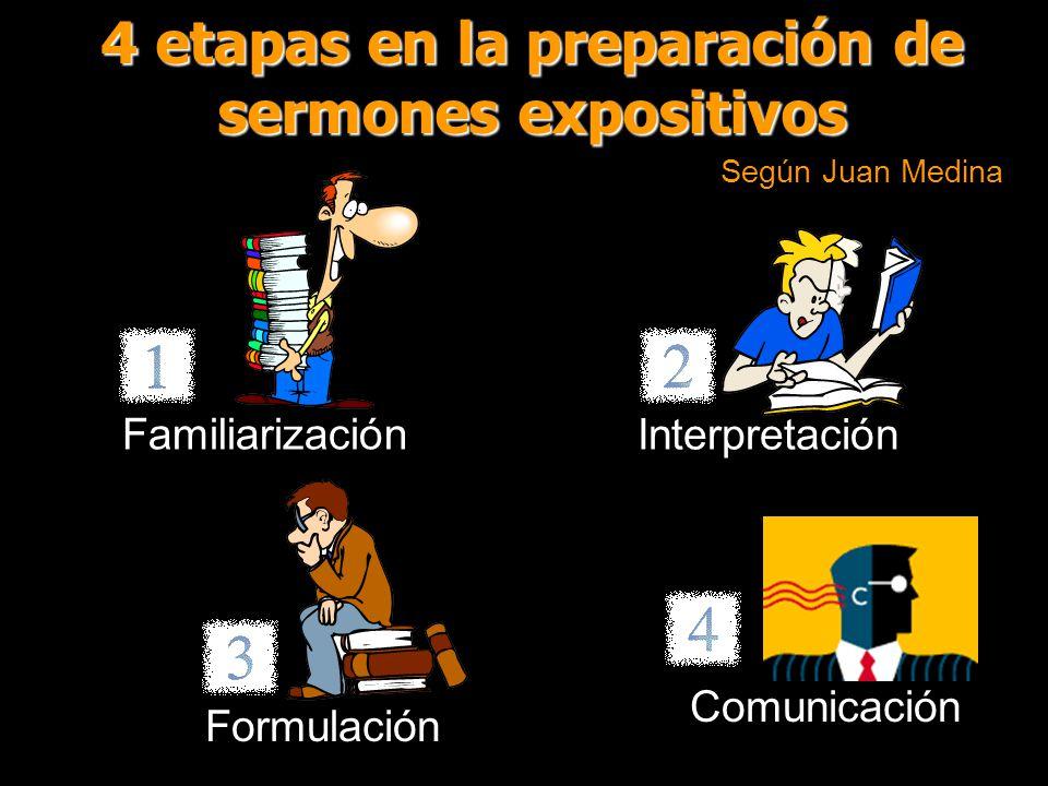 4 etapas en la preparación de sermones expositivos Según Juan Medina Familiarización Interpretación Formulación Comunicación