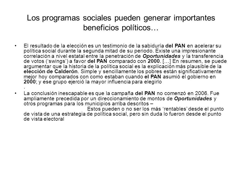 Los programas sociales pueden generar importantes beneficios políticos… El resultado de la elección es un testimonio de la sabiduría del PAN en acelerar su política social durante la segunda mitad de su periodo.
