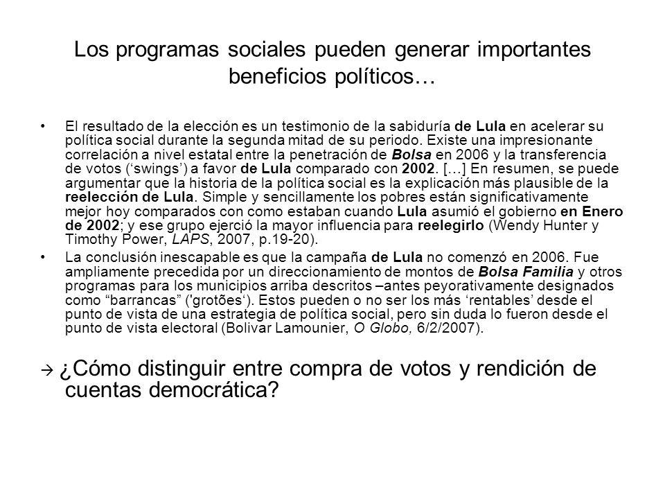 Los programas sociales pueden generar importantes beneficios políticos… El resultado de la elección es un testimonio de la sabiduría de Lula en acelerar su política social durante la segunda mitad de su periodo.