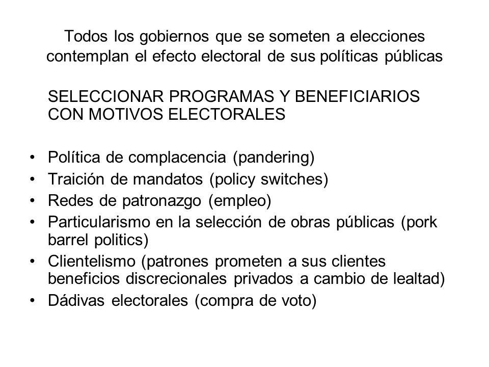 Mapeo de los programas sociales en México: Discreción y focalización Fuente: Diaz-Cayeros, Estévez y Magaloni The Logic of Electoral Investment: Poverty Relief and Social Transfers in Mexico, capítulo 1.