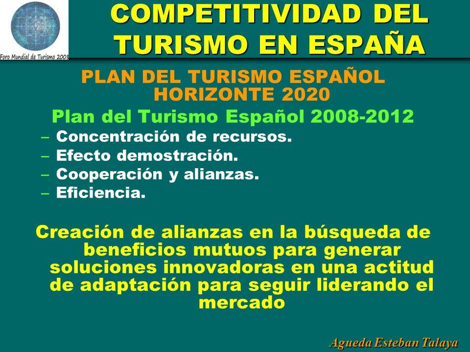 Agueda Esteban Talaya COMPETITIVIDAD DEL TURISMO EN ESPAÑA PLAN DEL TURISMO ESPAÑOL HORIZONTE 2020 Plan del Turismo Español 2008-2012 – Concentración