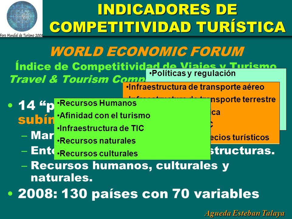 Agueda Esteban Talaya INDICADORES DE COMPETITIVIDAD TURÍSTICA WORLD ECONOMIC FORUM Índice de Competitividad de Viajes y Turismo Travel & Tourism Compe