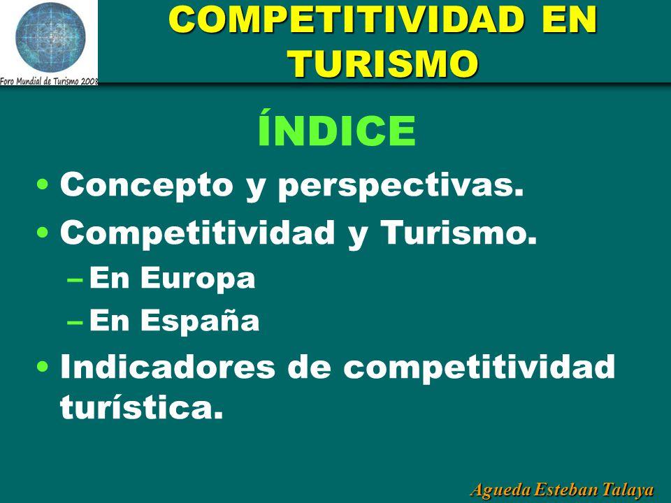 Agueda Esteban Talaya COMPETITIVIDAD EN TURISMO ÍNDICE Concepto y perspectivas. Competitividad y Turismo. –En Europa –En España Indicadores de competi