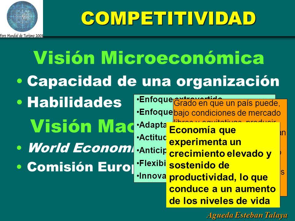 Agueda Esteban Talaya COMPETITIVIDAD Visión Microeconómica Capacidad de una organización Habilidades Visión Macroeconómica World Economic Forum Comisi