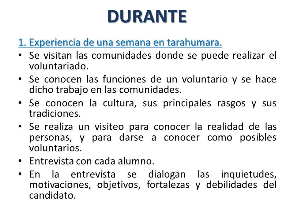 DURANTE 1.Experiencia de una semana en tarahumara.