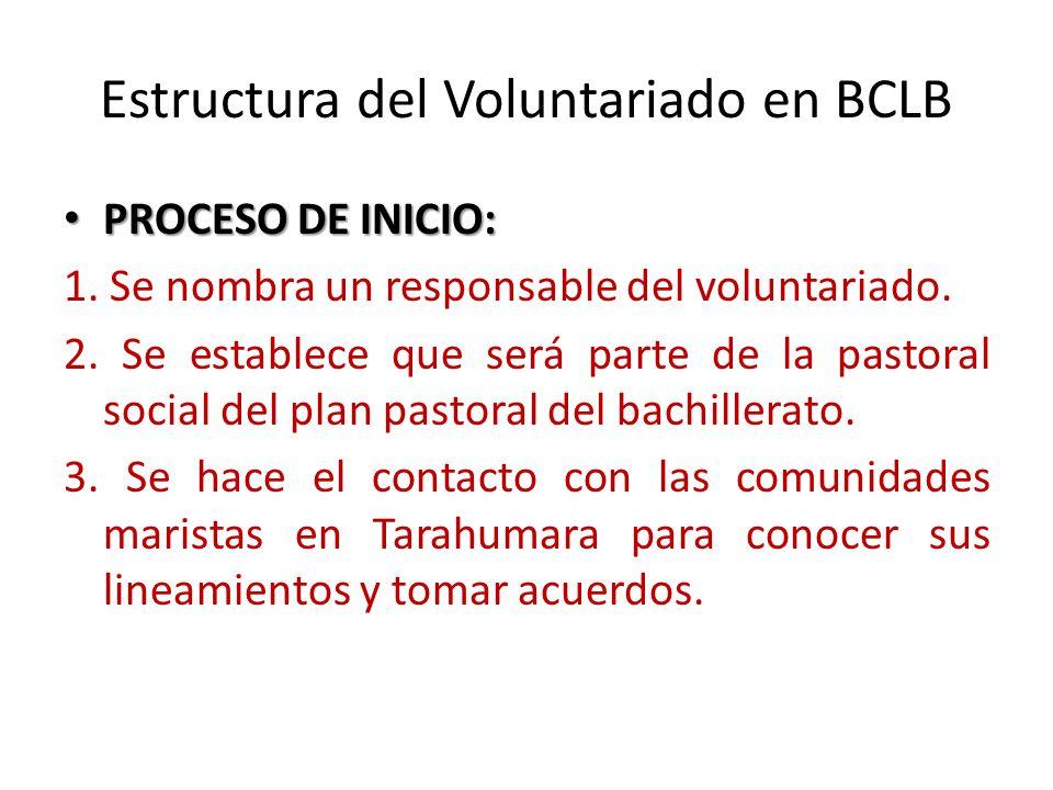 Estructura del Voluntariado en BCLB PROCESO DE INICIO: PROCESO DE INICIO: 1.