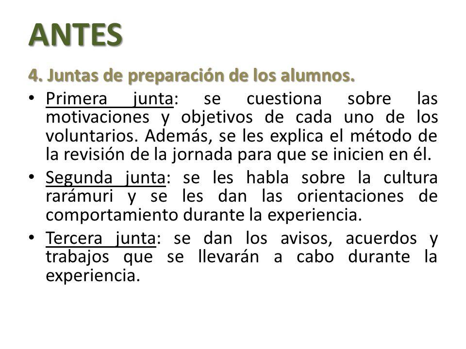 ANTES 4.Juntas de preparación de los alumnos.