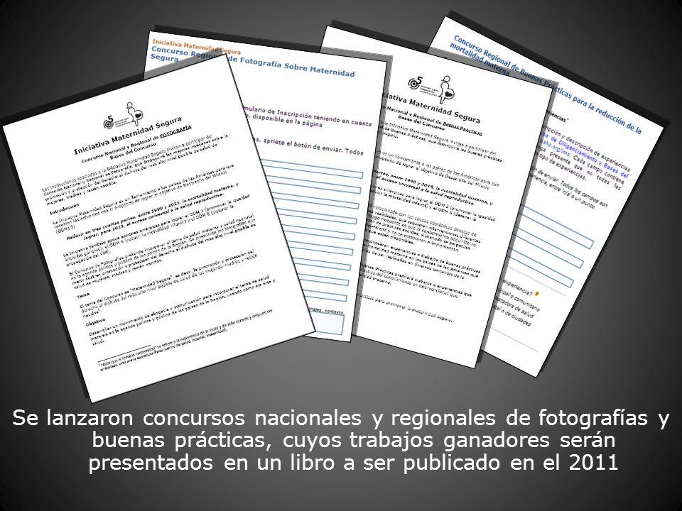 Se lanzaron concursos nacionales y regionales de fotografías y buenas prácticas, cuyos trabajos ganadores serán presentados en un libro a ser publicado en el 2011