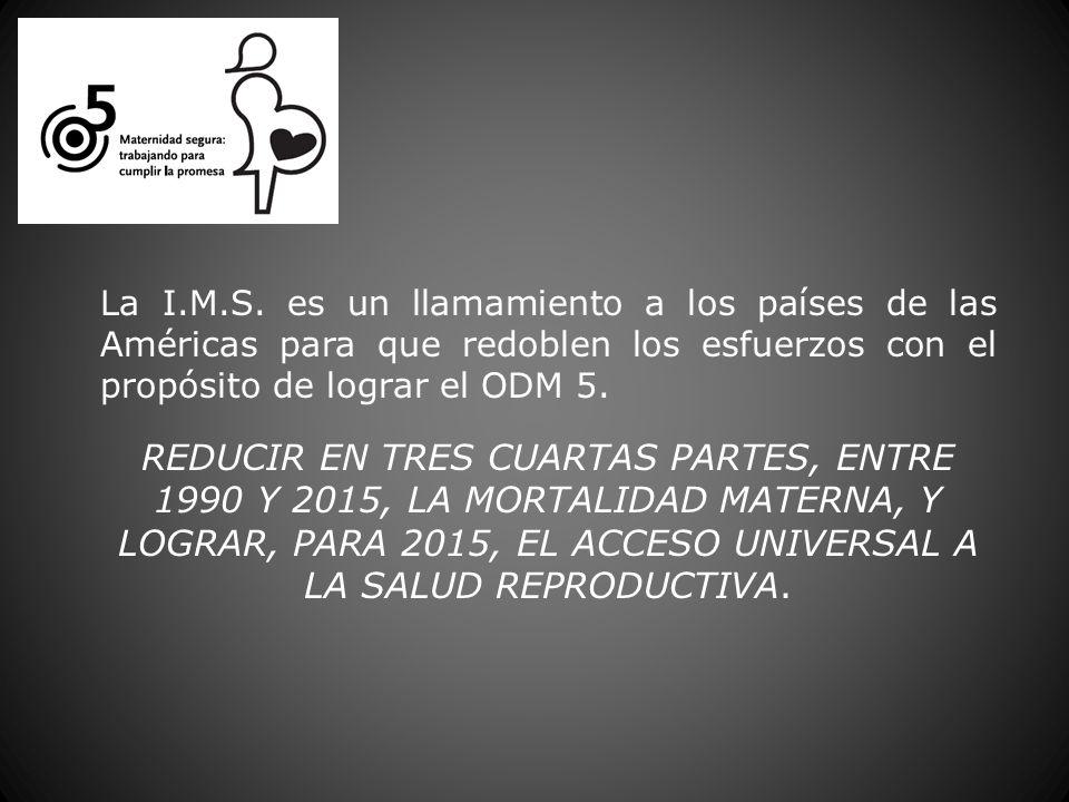 La I.M.S. es un llamamiento a los países de las Américas para que redoblen los esfuerzos con el propósito de lograr el ODM 5. REDUCIR EN TRES CUARTAS