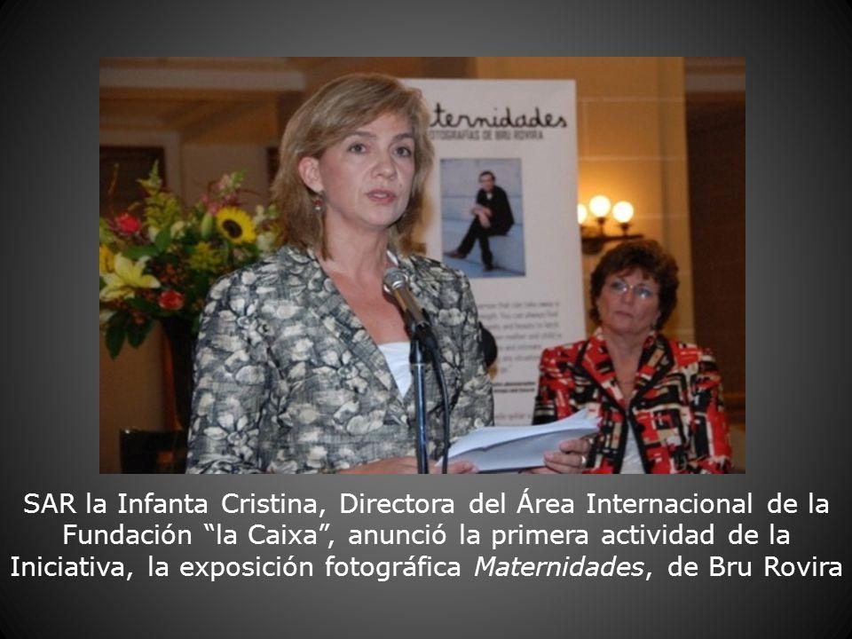 SAR la Infanta Cristina, Directora del Área Internacional de la Fundación la Caixa, anunció la primera actividad de la Iniciativa, la exposición fotog