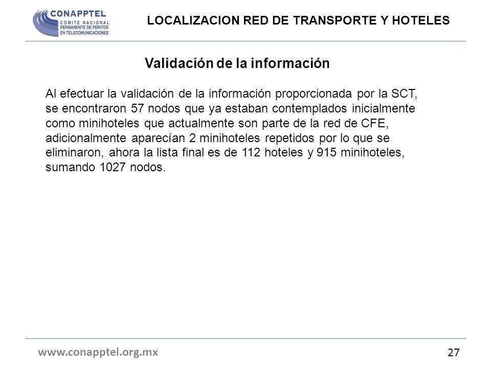 Validación de la información Al efectuar la validación de la información proporcionada por la SCT, se encontraron 57 nodos que ya estaban contemplados